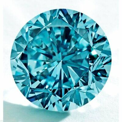 Vivid Blue Loose Moissanite Diamond Round Excellent Cut Best For Jewelry OR (Best Cut For Diamond Ring)