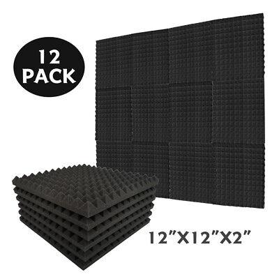 "12 Pcs Acoustic Tiles 2""X12""X12"" Studio Soundproofing Foam Egg Crate Wall Panels"