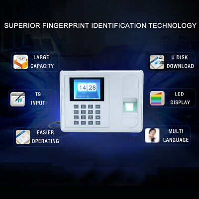 A6 Biometric Fingerprint Time Attendance Clock Employee Recorder Equipment 2.4