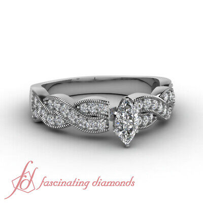 .70 Ct Marquise Cut:Very Good Diamond Intertwist Style Engagement Ring VS2 GIA