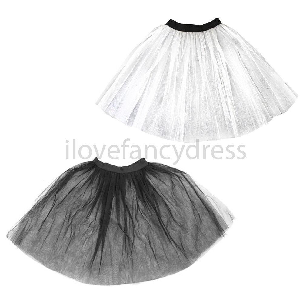 SHORT WHITE UNDERSKIRT NET TUTU 1950S FANCY DRESS COSTUME ACCESSORY NETTED