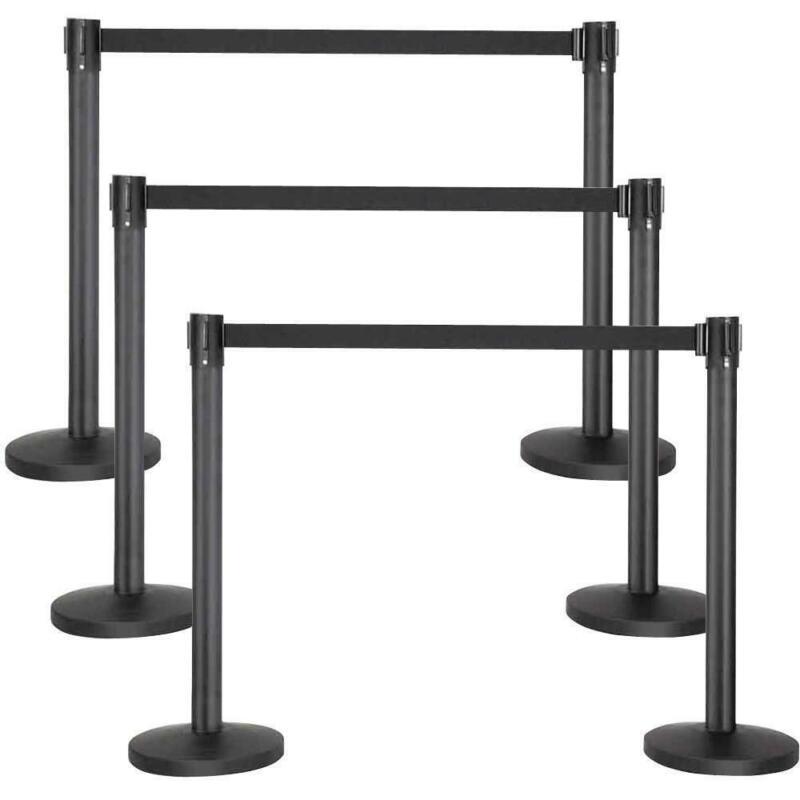 6x Crowd Control Barrier Stanchion Posts Queue Pole Retractable Black