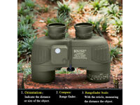 Brand New !! BNISE Military HD Binoculars, Navigation Compass and Rangefinder, 10x50 Large