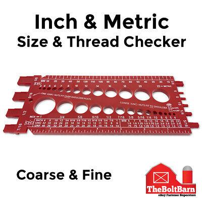 Screw Bolt Nut Thread Measure Gauge Size Checker Inch Standard Metric