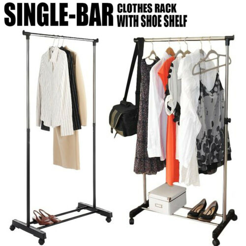 Clothes Rack Metal Garment Display Rolling Portable Rail Han