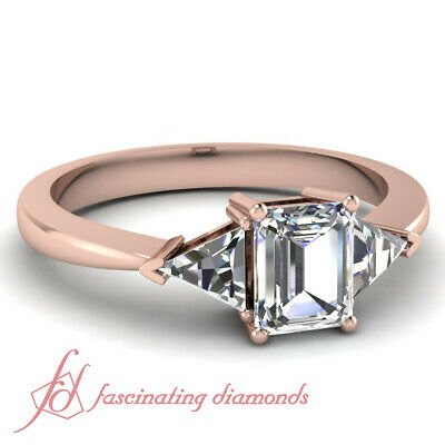 1.25 Carat Emerald Cut And Trillion Diamond Tapered Style Engagement Rings GIA