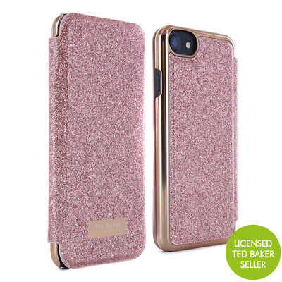 Official Ted Baker Glitsie Mirror Folio Case Fits Iphone 7 & 6s Rose Gold