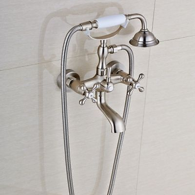 Brushed Nickel Wall Mount Clawfoot Bathroom Tub Faucet Hand Shower Mixer Tap Set