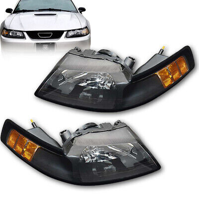 For 1999-2004 New Edge Ford Mustang Headlights Lamps Black Clear (2001 Ford Mustang Headlights)