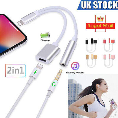 2 in 1 iPhone 3.5mm Aux Charger Adapter Earphone Audio Jack Charge Adapter Cable
