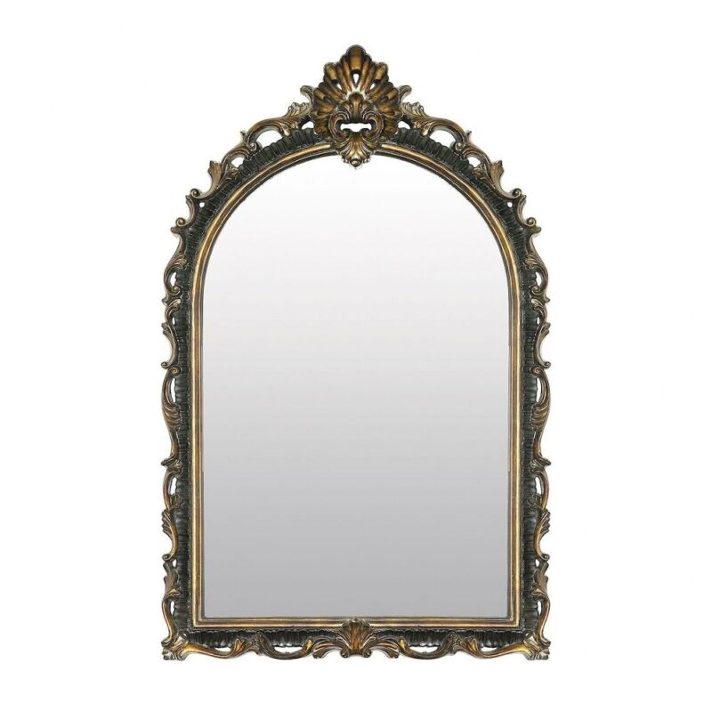Ornate Traditional Arched Mirror With Gold Scroll Accents Made Of Composite In