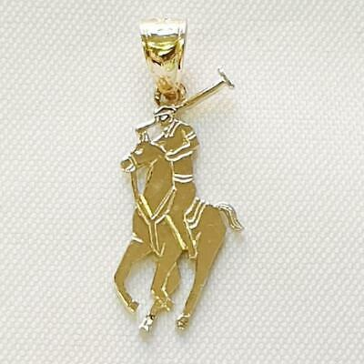 14k Yellow Gold Polo Horse Sport Pendant / Charm, Made in USA