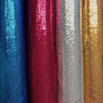 All-Over Micro Sequins Starlight on Stretch Mesh Fabric 54