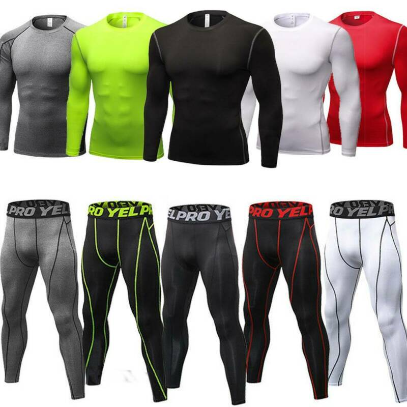 Mens Compression Thermal Base Layer Tights T-Shirt Top Long