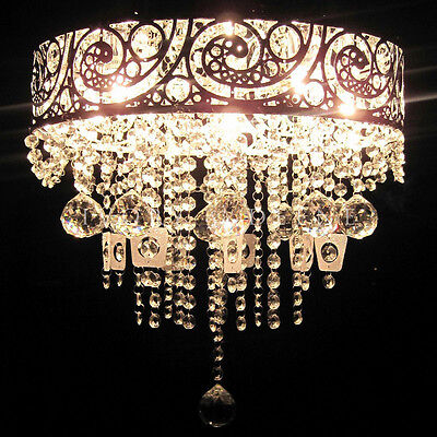 VINTAGE GLASS CRYSTAL Beads Pendant Chandelier Light Lamp Stunning Silver Chrome
