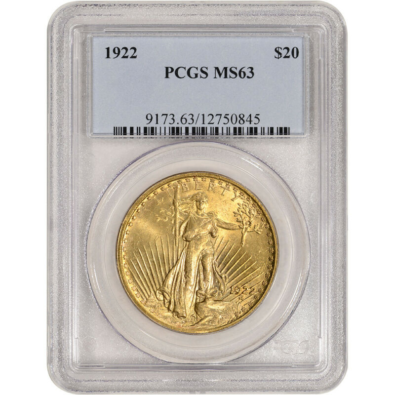 1922 US Gold $20 Saint-Gaudens Double Eagle - PCGS MS63