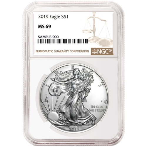 Купить 2019 $1 American Silver Eagle NGC MS69 Brown Label