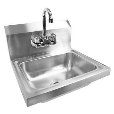 17 X 15 X 14 Wall Mount Kitchen Hand Wash Sink Stainless Steel With Faucet