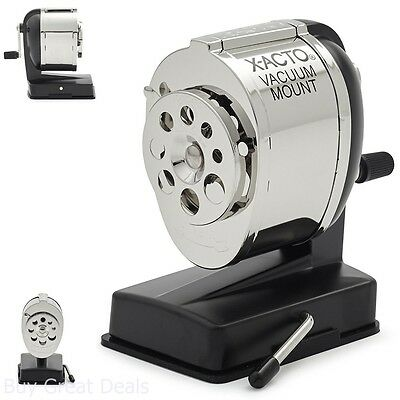 Commercial Grade Vacuum Mounted Manual Pencil Sharpener W Dual Helical Cutters
