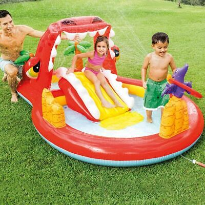 INTEX HAPPY DINO INFLATABLE POOL PLAY CENTER WITH SLIDE