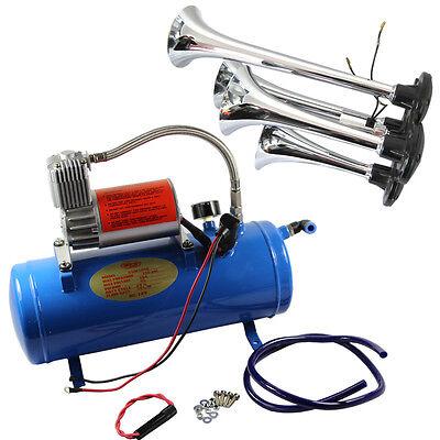 Air Horn 4 Trumpet 12 Volt Compressor 3ft Hose 150 dB Train 125 PSI Kit Truck