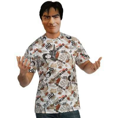 Mens Adult Official Funny Charlie Sheen Costume Shirt and Mask (Charlie Sheen Kostüm)