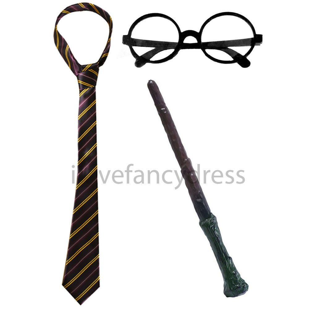 Cravate à rayures lunettes rondes et wand assistant Costume Robe Fantaisie Kit Halloween