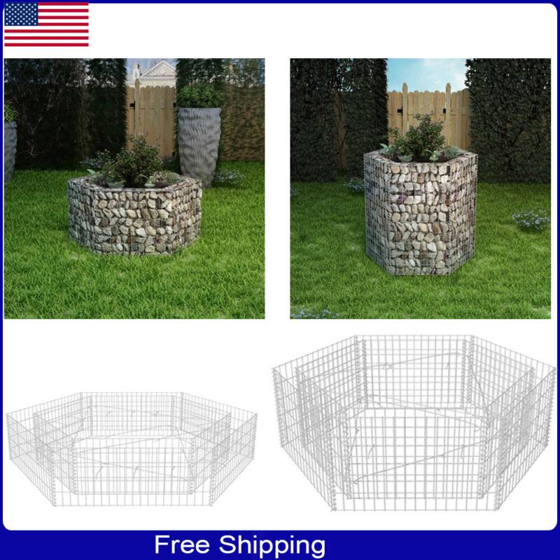 Gabion Hexagonal Planter Flower Basket Outdoor Garden Plant Bed Galvanised steel