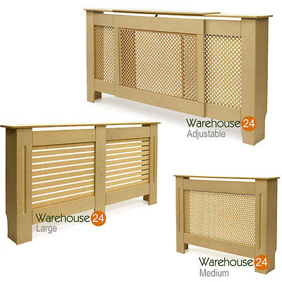 Radiator Cover Cabinet Shelf MDF Unpainted Diamond or Circle Grill MDF Wood