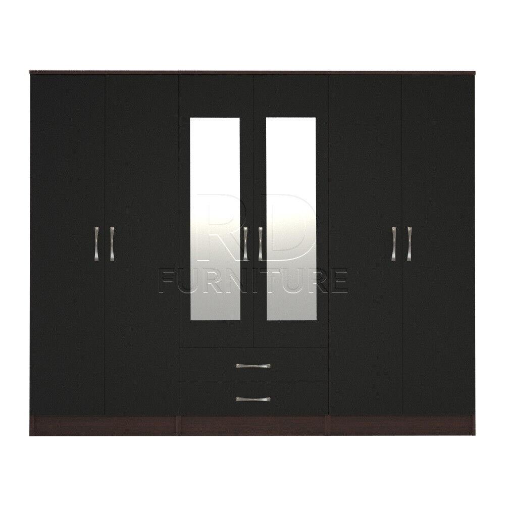 Cornwall model 4, 216cm wide 6 door walnut and black wardrobe