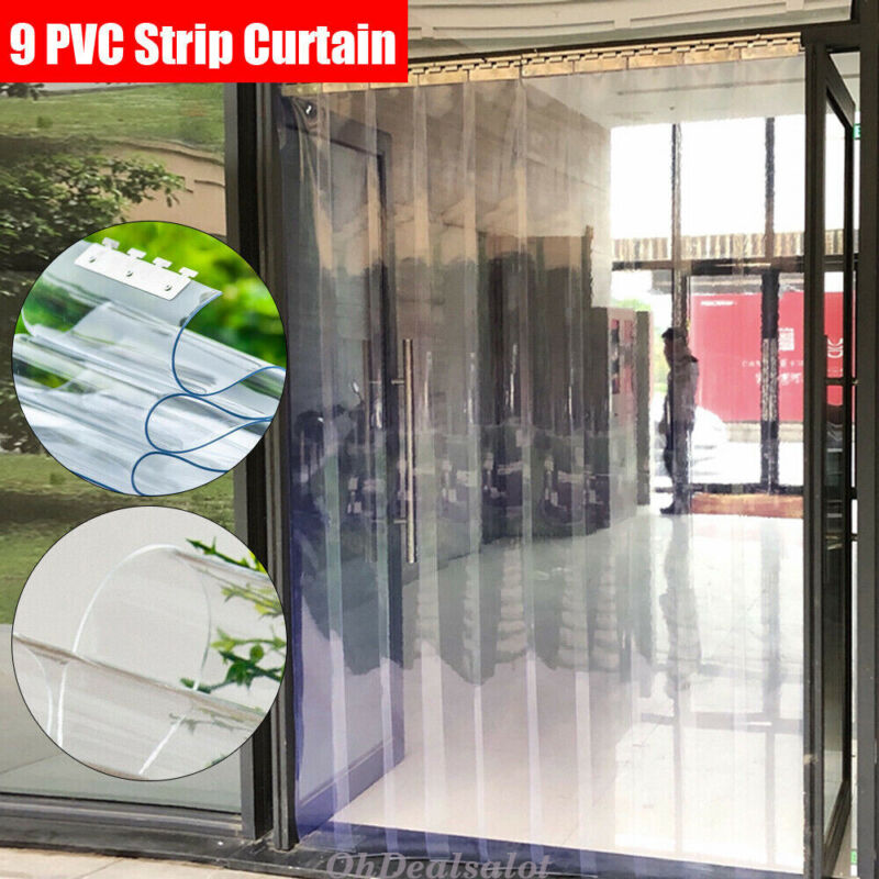 9*Strip PVC Window Curtains Plastic Mall Warehouse Door Insulation 2m Length USA
