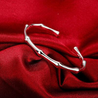 Womens 925 Sterling Silver Bamboo Cuff Adjustable Bangle Fashion Bracelet #B233 Bamboo Silver Bracelet Bangle