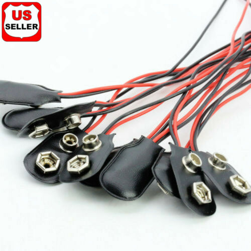 1 5 10 Pcs Snap 9V (9 Volt) Battery Clip Connector I Buckle Type Black w/ Cable Business & Industrial