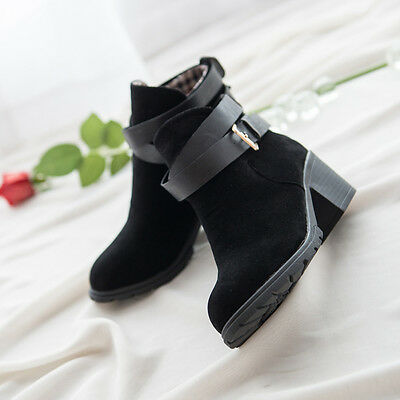 Women Winter Snow Low Heel Ankle Boot Buckle Wedge Martin Boots Ladies Shoes  7