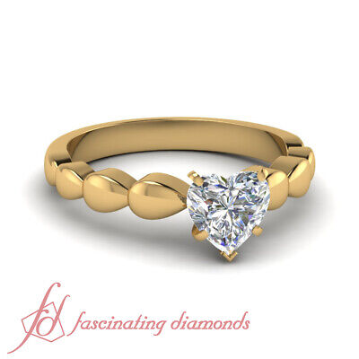 Solitaire Diamond Ring With 0.65 Ct Heart Shaped Untreated In Yellow Gold GIA