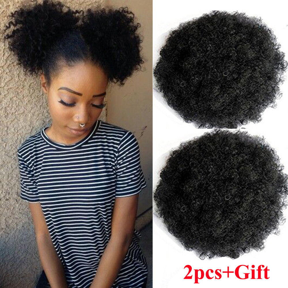 Details About 2pcs Small Afro Bun Ponytail Clip Curly Puff Drawstring Hair Black Women