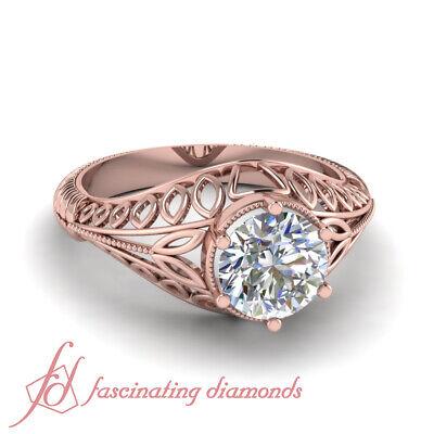 1/2 Carat Round Cut Solitaire Art Nouveau Diamond Engagement Rings GIA Certified