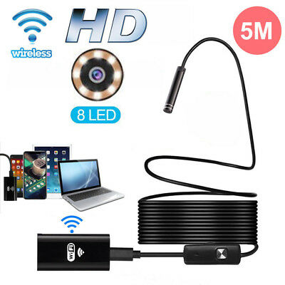 5M 8LED WiFi Borescope Endoscope Snake Inspection Camera for iPhone...