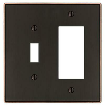 Amerelle 1-Toggle and 1-Decora Wall Plate, Aged (1 Toggle Decora Wall Plate)
