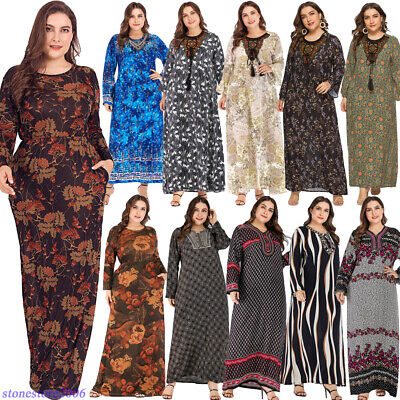 Kaftan Women Print Abaya Maxi Long Cocktail Party Dress Muslim Jilbab Arab Robe