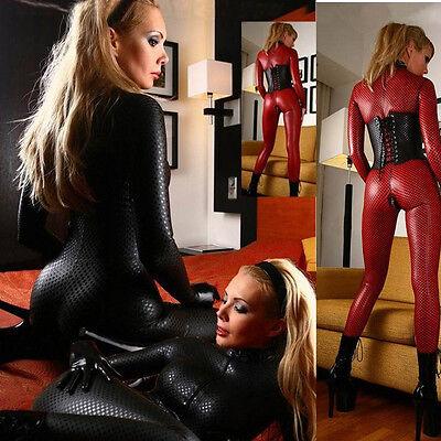 Women Wetlook Black Red Vinyl PVC Catsuit Bodysuit Jumpsuit Catwoman Costume - Black Catwoman Bodysuit