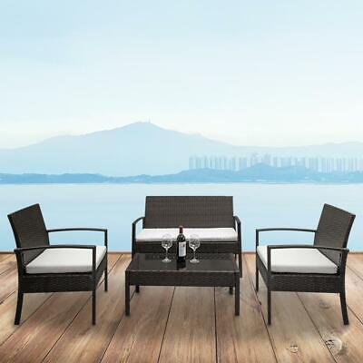 Garden Furniture - 4 PCS Rattan Patio Furniture Set Garden Lawn Sofa Set /w Cushion Seat Mix Wicker