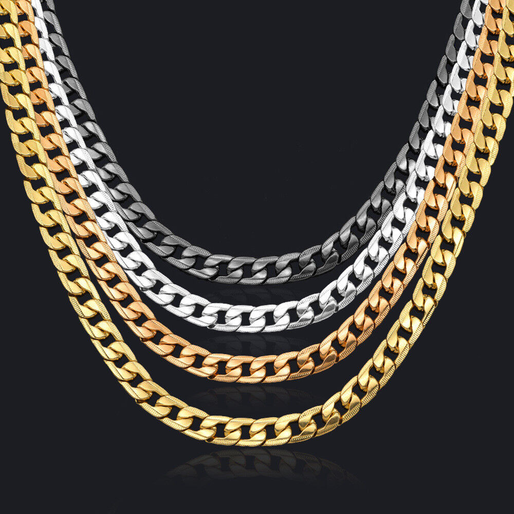 Curb Chain Necklace for men 24'' 10mm Black/Silver/Rose/18K