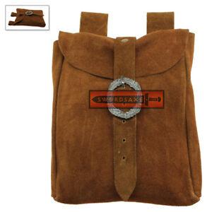 Medieval Belt Pouch Real Suede Leather Hip Purse Renaissance Noble Side Bag