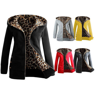 (Women Winter Thick Velvet Coat Hooded Parka Leopard Print Zipper Jacket Outwear)
