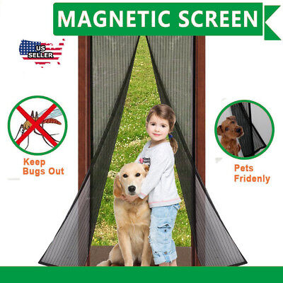 "Magnetic Screen Door Full Frame Mosquito Bug Curtain 38""X 83"" safe"