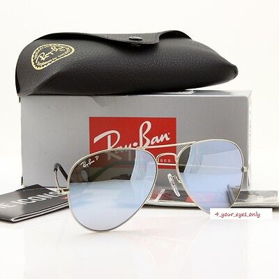 Ray-Ban Aviator RB3025 019/W3 58 POLARIZED Silver Mirror /Matte Silver AUTHENTIC