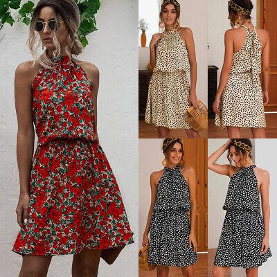 UK Womens Boho Mini Floral Dress Summer Ladies Halterneck Short Flower Dresses