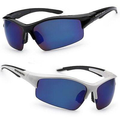 NEW Mens Sport Sunglasses Cycling Baseball Ski Snowboard Blue Mirror Lens