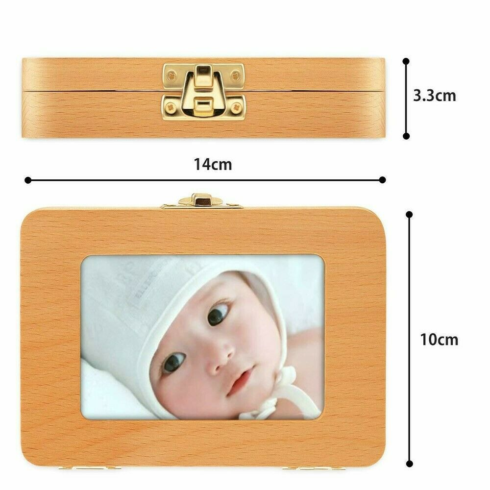 как выглядит Wooden Kids Tooth Box Organizer Milk Teeth Collection Wood Storage For Boy Girl фото